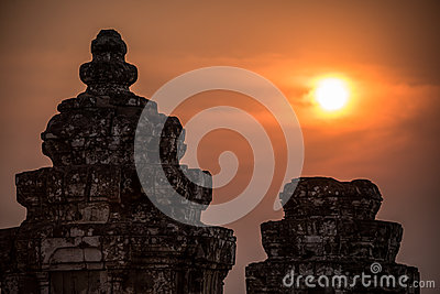 Angkor Wat at Sunset. Cambodia. Temples, Ancient Civilization. Asia. Tradition, culture and religion.