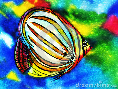 Angel Fish watercolor with water bubbles