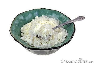 Angle minutieux de cuillère de bol de riz