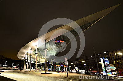 Lights from ZOB Bus Port Hamburg in Germany Editorial Stock Photo