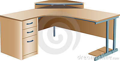 Angled corner office desk