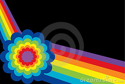 Angled Rainbow with Flower