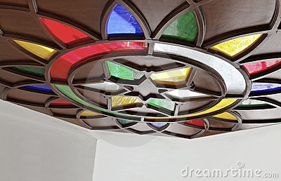 Angled stained glass indigenous lotus star