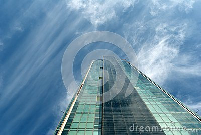 Angled View Of A Glass Wall Of An Office Buildin Royalty Free Stock Photography - Image: 27696577
