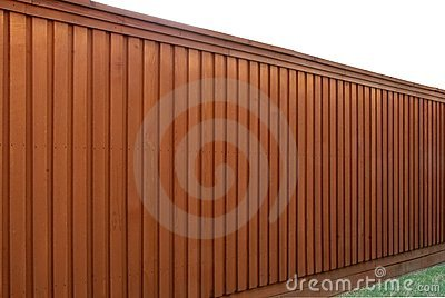 Angled view of a wood fence