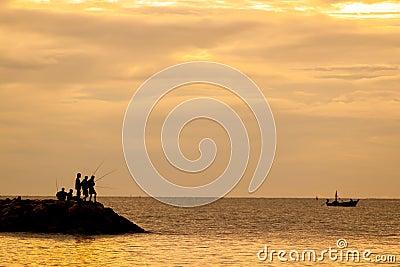 Angler s shadow in morning sun