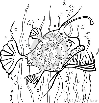Anglerfish Coloring Page Stock Vector - Image: 41314177