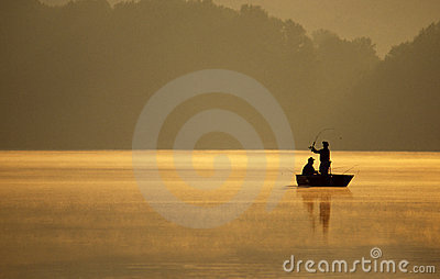 Anglers Fishing on a Lake