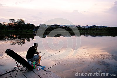 Angling in the sunset