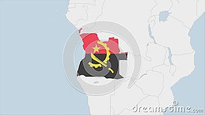 Angola Karte hervorgehoben in Angola Flaggenfarben und Pin der Landeshauptstadt Luanda lizenzfreie abbildung