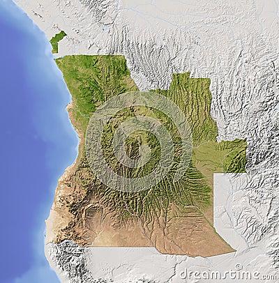 Angola, mapa de relevo protegido