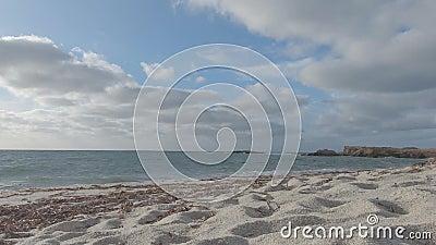 Angolo di visione retroilluminato di granelli di sabbia al quarzo bianco con onde di mare e cielo nuvoloso sullo sfondo archivi video