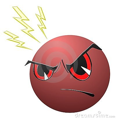 isolated Angry face cartoon in red
