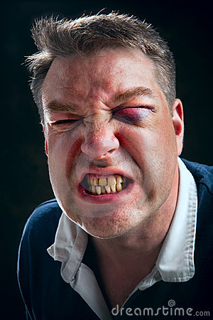 Angry and aggressive man