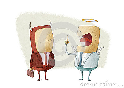 Angry angel businessman shouting a demon businessman