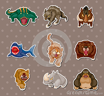 Free Angry Animal Stickers Royalty Free Stock Photos - 25194328