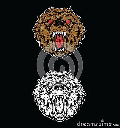 Angry bear head drawing - photo#17