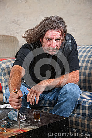 Angry Biker Gang Man with Dagger
