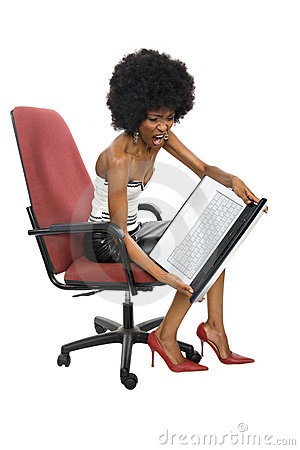 Angry black woman with laptop