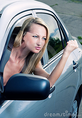 Angry blond driver