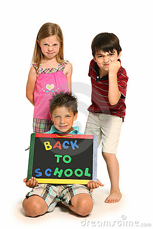 Angry Boys and Girl with Back To School Sign