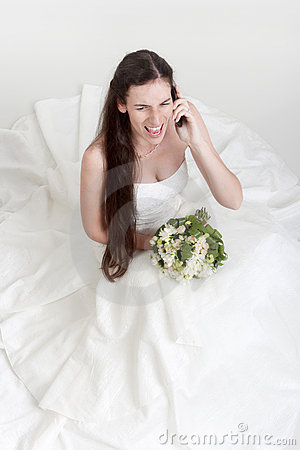 Angry bride on cell phone