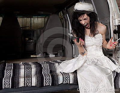 Angry bride screaming at her phone
