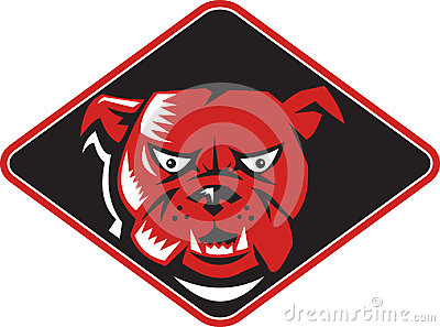 Angry Bulldog Head Front Retro Stock Image - Image: 25961311
