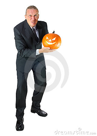 Angry Business Man with Halloween Pumpkin