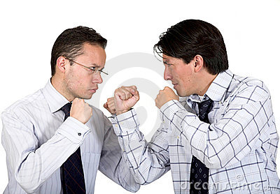 Angry business men fighting