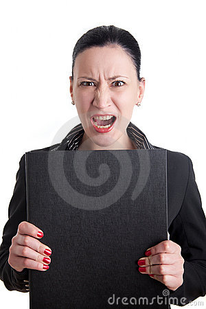 Angry business woman with folder