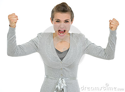 Angry business woman shouting in camera