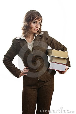 Angry business woman in suit wearing books