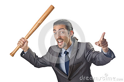 Angry businessman with bat