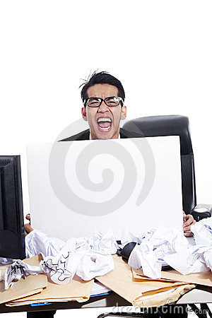 Angry businessman holding an empty board
