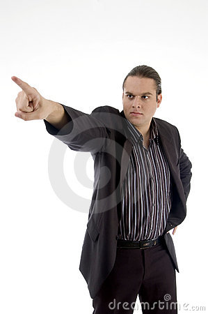Angry businessman pointing