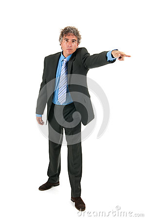 Angry businessman pointing out