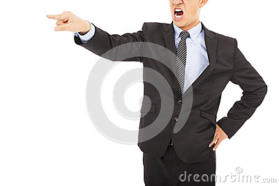 Angry businessman pointing  with yelling