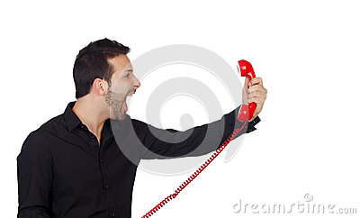 Angry Businessman shouting At Phone