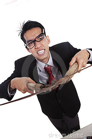 Free Angry Businessman With Scissors Stock Photos - 22809323