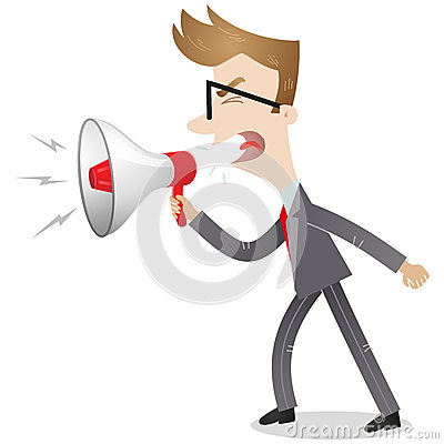 Angry businessman yelling into megaphone
