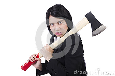 Angry businesswoman with axe
