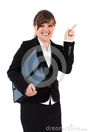 Angry businesswoman with briefcase