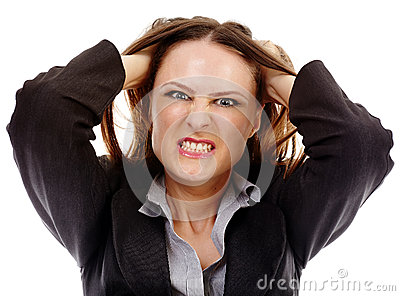 Angry businesswoman on white background