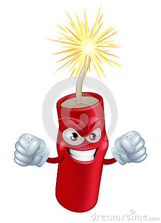 Angry cartoon firecracker
