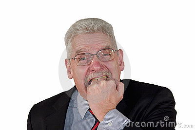 Angry caucasian senior manager biting into fist