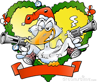 Angry christmas duck