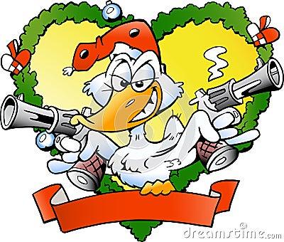 Angry christmas duck