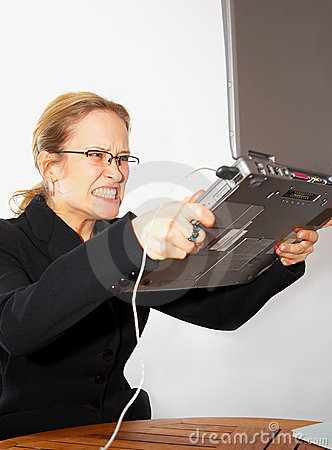 Angry On Computer. Royalty Free Stock Photography - Image: 517107