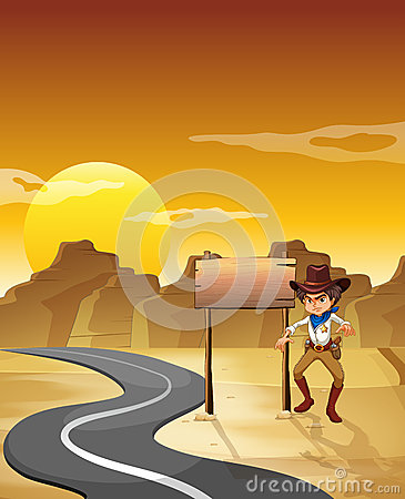 An angry cowboy beside the empty board at the desert